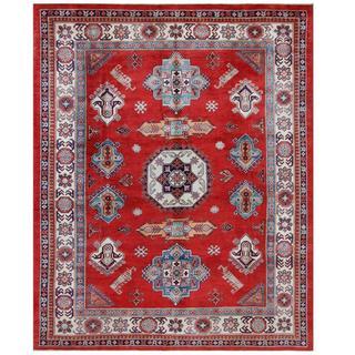 Herat Oriental Afghan Hand-knotted Tribal Super Kazak Red/ Ivory Wool Rug (8' x 10'3)