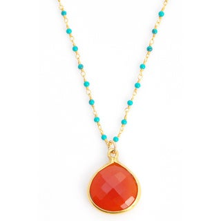 Alchemy Jewelry 22k Goldplated Red Onyx and Turquoise Gemstone Necklace