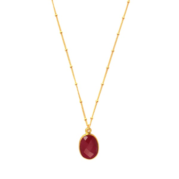 Alchemy Jewelry Gold Overlay Red Ruby Necklace