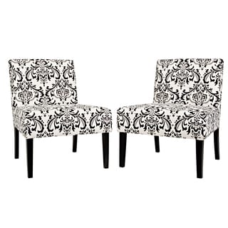 Better Living Niles Black and Tan Damask Armless Accent Chair (Set of 2)