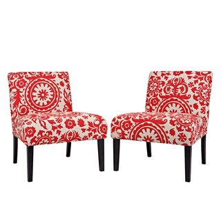 Portfolio Niles Red Floral Medallion Armless Accent Chair (Set of 2)