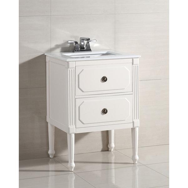 WYNDENHALL Dubois 2 Drawer 24 Inch Bath Vanity With White Quartz Marble Top