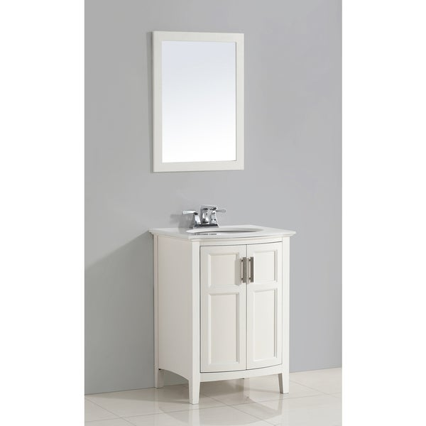 WYNDENHALL Salem 24-inch White Rounded Front Bath Vanity with White Quartz Marble Top