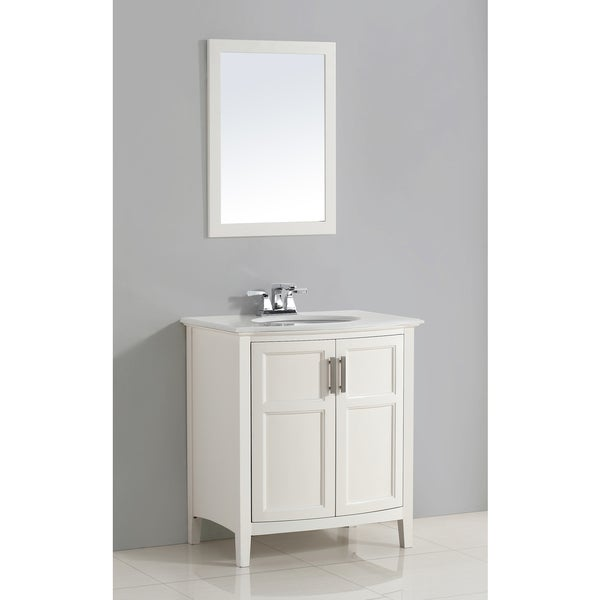 WYNDENHALL Salem 30-inch White Rounded Front Bath Vanity with White Quartz Marble Top