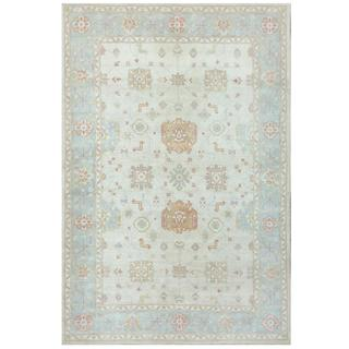 Herat Oriental Afghan Hand-knotted Tribal Kazak Grey/ Light Blue Wool Rug (6'1 x 8'11)