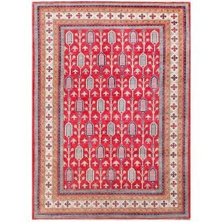 Herat Oriental Afghan Hand-knotted Tribal Kazak Red/ Ivory Wool Rug (8'3 x 11'7)