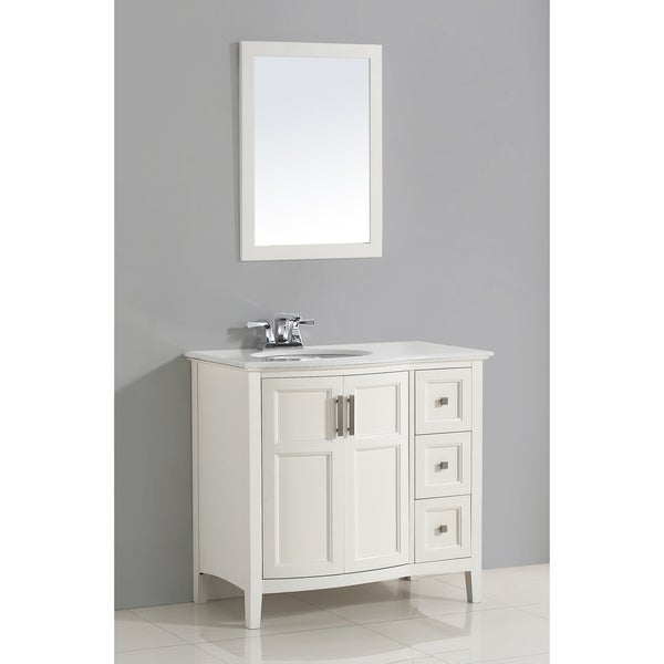 WYNDENHALL Salem 36-inch White Rounded Front Bath Vanity with White Quartz Marble Top