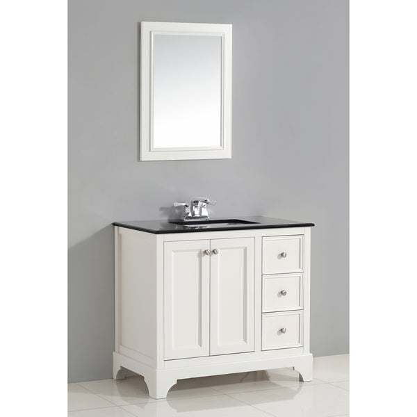 Wyndenhall Carlyle White 2 Door 36 Inch Bath Vanity Set With Black Granite Top 17112816