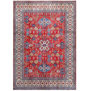 Herat Oriental Afghan Hand-knotted Tribal Kazak Red/ Ivory Wool Rug (7'10 x 10'11)