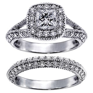 14k White Gold 3ct TDW Princess-cut Bridal Set (F-G, SI1-SI2)