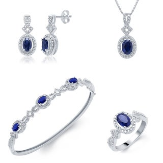 Rhodium over Brass 1/30ct. TDW 4-piece Diamond and created Blue Sapphire Jewelry Set (I-J, I2-I3)
