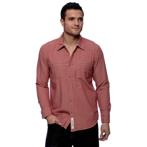 Riff Stars Men's Red Chambray Long Sleeve Button-up Shirt