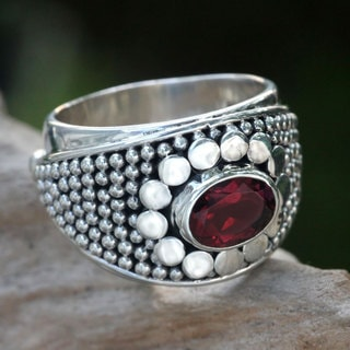 Handcrafted Sterling Silver 'Floral Creation' Garnet Ring (Indonesia)