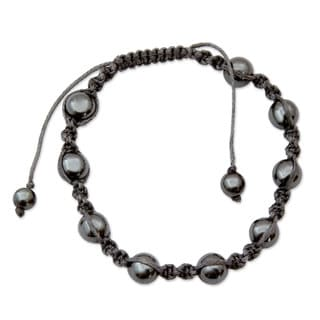 Handcrafted Cotton 'Quiet Peace' Hematite Bracelet (India)
