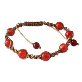 Handcrafted Waxed Cotton 'Peace' Carnelian Bracelet (India)
