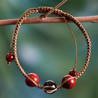 Cotton 'Courageous Tranquility' Jasper Quartz Bracelet (India)