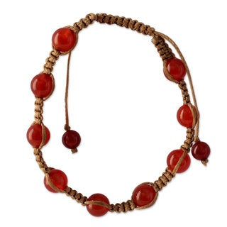 Handcrafted Cotton 'Blissful Energy' Carnelian Bracelet (India)