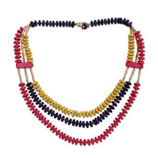 Handcrafted Elm Wood 'Holi Fest' Bone Necklace (India)
