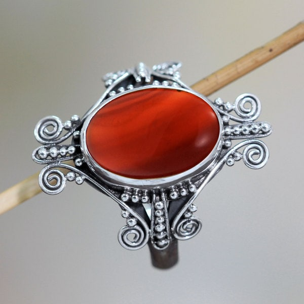 Sterling Silver 'Dreams of Bali' Chalcedony Ring (Indonesia)