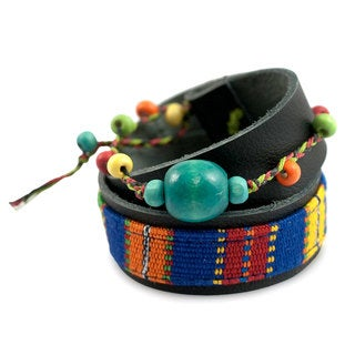 Handcrafted Leather Cotton 'Maya Forest' Bracelet (Guatemala)