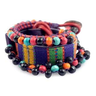 Handcrafted Leather Cotton 'Maya Candy' Bracelet (Guatemala)