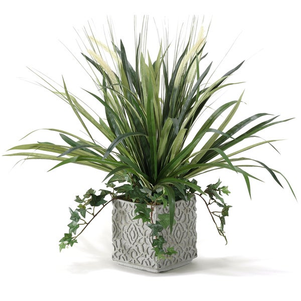 D&W Silks Onion Grass and Spider Plant in Square Ceramic Planter