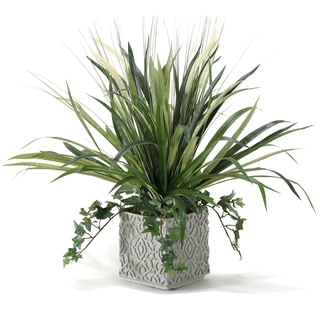 D&W Silks Onion Grass and Spider Plant in Square Ceramic Planter