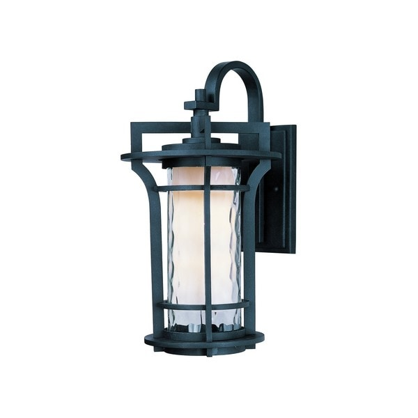 Black Oakville Black Die Cast Aluminum Water Glass Shade 1-light Outdoor Wall Mount Light