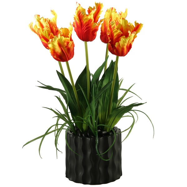 D&W Silks Orange Parrot Tulips in Black Resin Planter