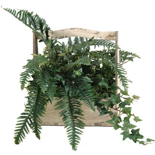 D&W Silks Fern and Ivy in Wooden Fleur Di Les Planter