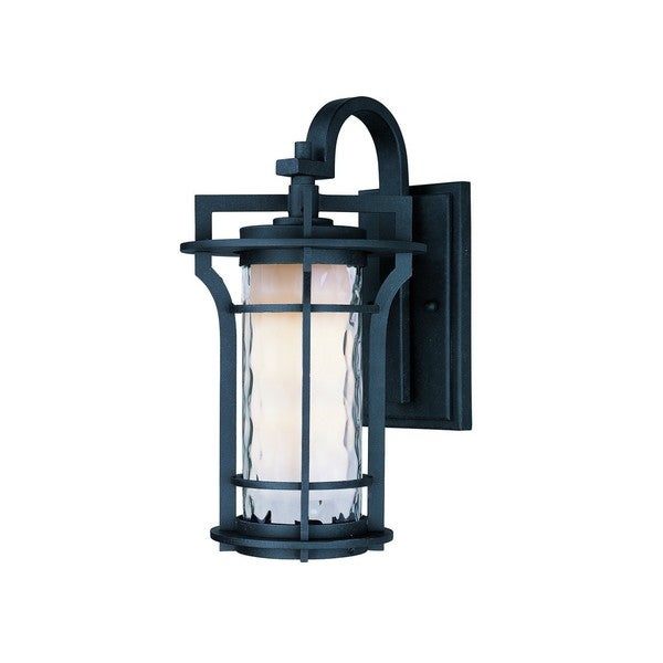 Black Oakville 1-light Black Die Cast Aluminum Water Glass Shade Outdoor Wall Mount Light