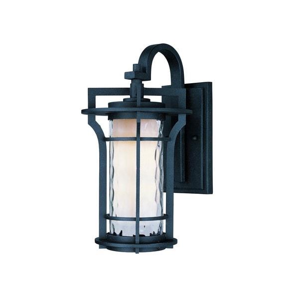 Black Oakville 1-light Black Die Cast Aluminum Water Glass Shade Outdoor Wall Mount Light