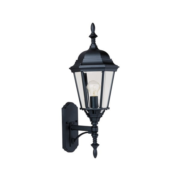 Black Westlake 1-light Black Die Cast Aluminum Clear Shade Outdoor Wall Mount Light