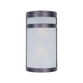 Bronze Stainless Steel Frosted Shade Arc 2-light Outdoor Wall Mount Light