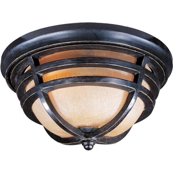 Bronze Vivex Mocha Cloud Shade Westport 2-light Outdoor Ceiling Mount Light