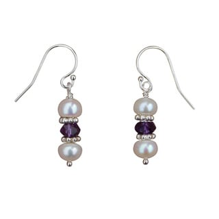 Pearl, Amethyst and Sterling Silver Earrings (5mm)
