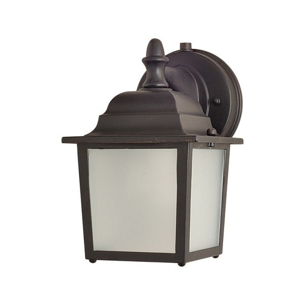 Bronze Die Cast Aluminum Frosted Shade Side Door EE 1-light Outdoor Wall Mount Light