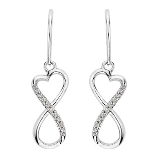 Sterling Silver Diamond Accent Infinity Earrings
