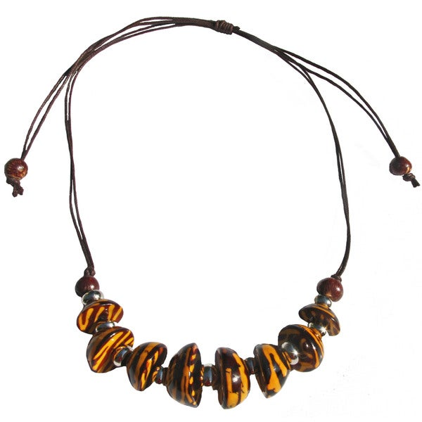 Yellow Colored Bombona Seed Slipknot Necklace (Colombia)