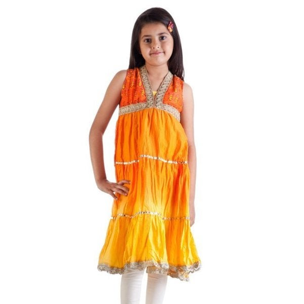 MB Girls Orange Gradient Kurta Tunic, Churidar (Pants) and Dupatta (Scarf) Set (India)