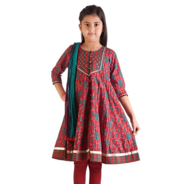 MB Girls Teal Leaf Print Kurta Tunic, Churidar (Pants) and Dupatta (Scarf) Set (India)