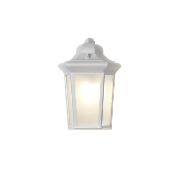 White Die Cast Frosted Shade Side Door EE 1-light Outdoor Wall Mount Light