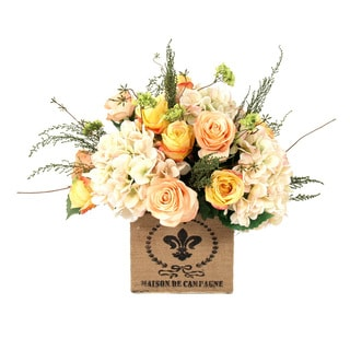 Yellow and Peach Roses with Cream Hydrangea in French Burlap Container