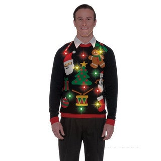 Black Light Up Ugly Christmas Sweater
