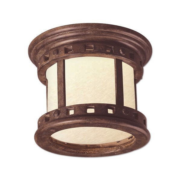 Die Cast Mocha Shade Santa Barbara EE 1-light Outdoor Ceiling Mount Light