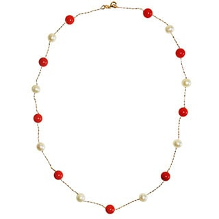 14k Yellow Gold Red Coral and Pearl Necklace (5-6 mm)