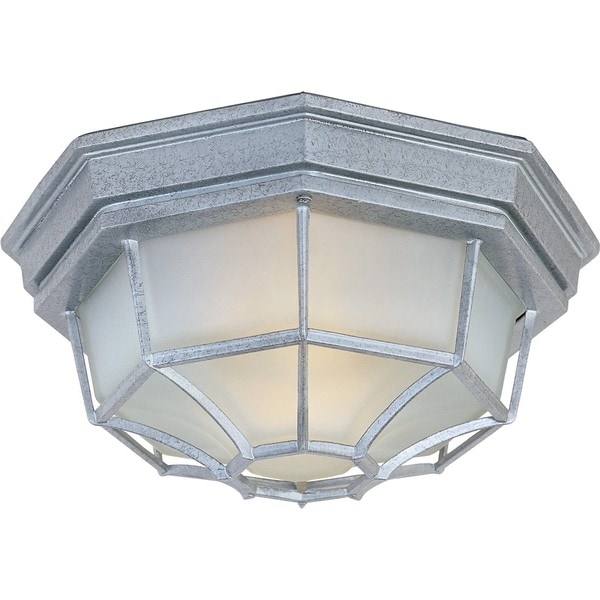 Pewter Frosted Shade Crown Hill 2-light Outdoor Ceiling Mount