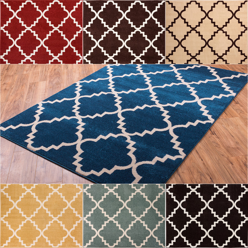 Well woven bright trendy twist iron trellis lattice red for Bright blue area rug