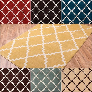 Well Woven Bright Trendy Twist Iron Trellis Lattice Polypropylene Rug (5'3 x 7'3)