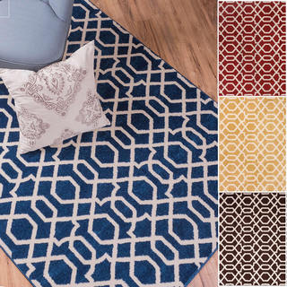 Well Woven Bright Trendy Twist Diamond Links Lattice Rug (5'3 x 7'3)